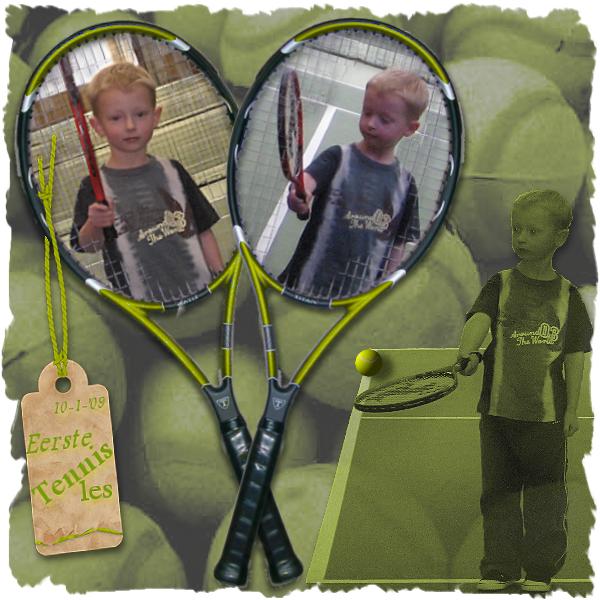Lucas eerste tennisles